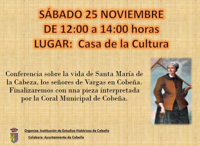 Cartel de la conferencia de sobre Santa María de la Cabeza y los Vargas
